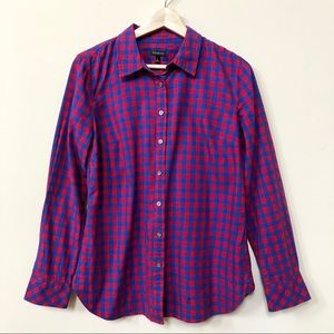 Talbots Blue/Red Long Sleeve Checkers Shirt Size S